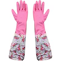 HOKIPO Reusable PVC Hand Gloves for Kitchen, Pink, Free Size, Elbow Length, 1 Pair