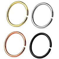 Via Mazzini Surgical Steel 8mm No Rusting Clip-On Non-Pierced Nose Ring Set For Women And Girls (NR0159) 4 Pcs