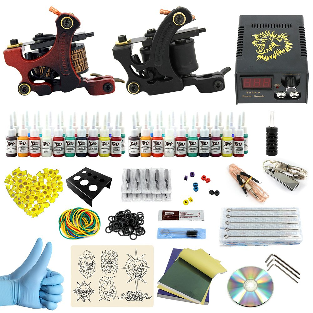 Pro complete tattoo kit kits with shader and liner guns for Ebay tattoo kit