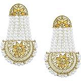 Shining Jewel Traditional Hyderabadi Chandbali Earring With Champagne Crystals And Pearls (SJ_466)