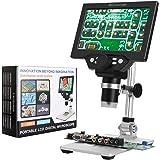 LQKYWNA Microscopio Digital Hd De 7 Pulgadas 1200X áNgulo Ajustable Con 8 Resalte Regulables Luz Micro Sd De Almacenamiento D