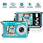 Unterwasserkamera 1080P Full HD Digitalkamera Wasserdicht 24 MP Videorecorder Selfie Camcorder Kamera Dual Screen DV...