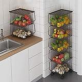 CarolynDesign Panier métallique à 5 étages sur roulettes pour cuisine, salon, chambre à coucher et salle de bain