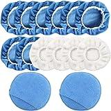FineGood 14 stks Auto Polisher Pad Applicator Pad, Microfiber Polishing Bonnet en Waxing Pad met Vinger Pocket - Blauw, Wit