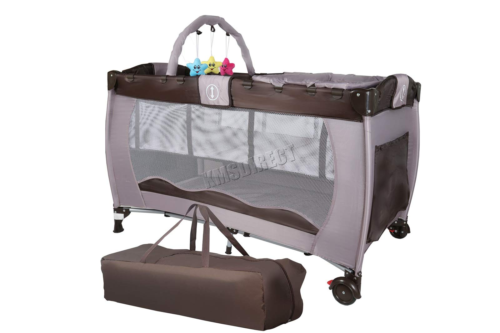 FoxHunter Portable Baby Cot Sleeping Bed Kids Infant Playpen Bassinet Child Play Pen with Entryway Travel BCB01 Coffee FoxHunter Travel cot easy to assemble and disassemble thanks to folding mechanism; igh quality and light weight; Fast and easy set-up, safe material and easy to clean; 1