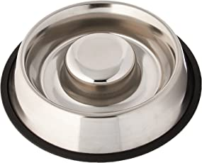 Pets Empire Extra Heavy Stainless Steel Non Tip - Anti Skid Health Care Slow Feeding Dish (1100ML)