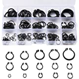 175-delige veiligheidsringen, E-clips, borgring, assortiment, 15 maten, 4,5 tot 23 mm, zwart geoxideerd gecoat staal
