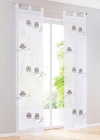 1pc rideau voilage avec broderie hibou rideaux de porte à pattes