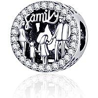Annmors Cuori di famiglia Charm Donna argento Ciondolo a forma di, in argento Sterling 925, compatibile con braccialetti…