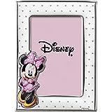 Disney Baby - Minnie Mouse - Cornice Porta Foto in Argento con dettagli dipinti a Colori da Tavolo o Comodino per la Camerett