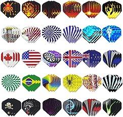 Tikea Dart Flights, 90 Stück Dartpfeile Flights Dartflights Sparpaket mit 30 verschiedene Motive, Standardform für Softdarts und Steeldarts …