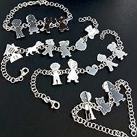 Bracciale personalizzato con 8 componenti della tua Famiglia con incisione nomi gratuita, in argento 925 rodiato.