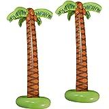 Widmann 10136169B – Lot de 2 Palmiers gonflables, Hauteur env. 180 cm, décoration pour fête sur la Plage, fête à thème, Carna