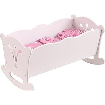 001a3d94eddcba KidKraft 60101 Berceau en bois blanc Lil  Doll avec parure de lit rose pour  poupées