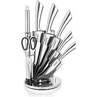 KAMBERG - 8130 - Bloc couteaux 8 pcs en Acier Inoxydable - Support Acrylique - Couteaux de cuisine - Gris