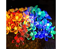 Chipark Solar String Lights Garden, 30 LED Blossom Solar Powered Fairy Lights 15.74ft 8 Modes Waterproof Outdoor Flower Strin