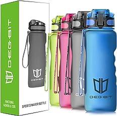 Degbit Trinkflasche, [BPA Frei Tritan] 1L Auslaufsicher Kunststoff Wasserflasche Trinkflaschen Sport, Flip Top Öffnet mit 1-klick, Sportflasche Fahrrad Flasche für Kinder, Yoga, Camping Freien