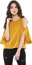 Harpa Women's Polyester Cold Shoulder Top