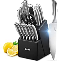 Yabano Set Couteaux, 16 Set Couteau Cuisine en Acier Inoxydable, Bloc de Couteaux avec Support en Bois