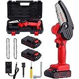 Mini-Kettensäge, 10,2 cm, kabellos, tragbar, Sicherheitsschalter, 2 x Ketten und 2 x Batterie 24 V 2000 mAh, geeignet zum Sch