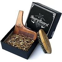 Angrybeard Set di pennelli per barba e set per barba - Pennello da barba in legno e barba Strumento per modellare…