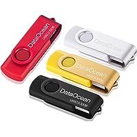 Lot de 4 Clé USB 32 Go DataOcean USB 2.0 Flash Drive Stockage Rotation Disque Mémoire Stick (4 X 32Go Rouge,Jaune,Noir…