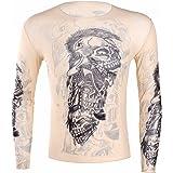 iEFiEL Men's Fake Tattoo Design Elastic Long Sleeve T-Shirt Fancy Costume