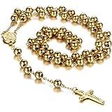 Cupimatch Collana unisex a rosario, in acciaio inox, ispirata alla tradizione cristiana e cattolica, con ciondolo a forma di