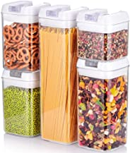 Mii-Home Set 5-Pieces Stackable Air-Tight Food Storage Containers BPA free with Flipped Handle Lock for Preserving Dry Food,