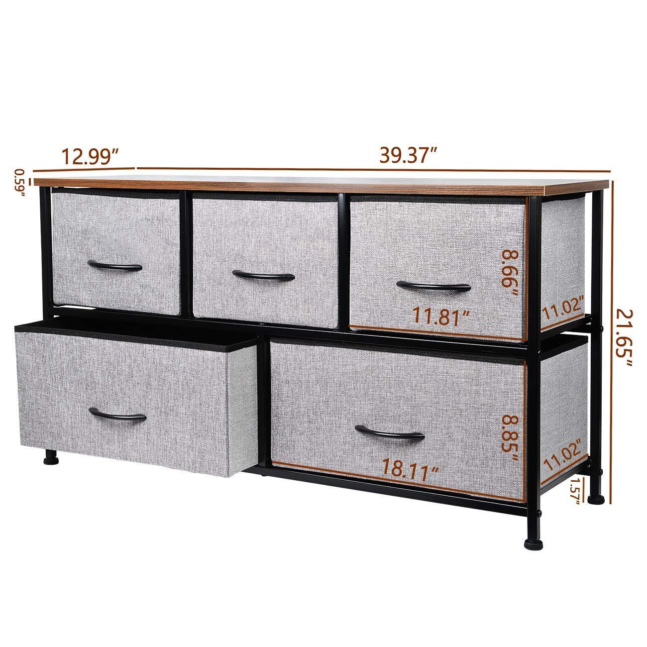 Glitz Star, cassettiera portaoggetti in Tessuto con 5 cassetti, per  Soggiorno, Camera da Letto, corridoio, Ingresso