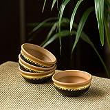 ExclusiveLane Hand-Painted 'Terra-Serves' Terracotta Serving Bowls Snacks Bowls (Set of 4)