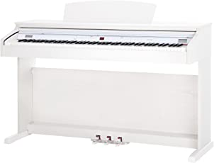 Classic Cantabile DP-50 WM E-Piano (Digitalpiano mit Hammermechanik, 88 Tasten, 2 Anschlüsse für Kopfhörer, USB, LED, 3 Pedale, Piano für Anfänger) weiß matt