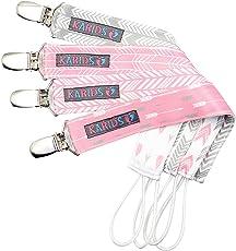 Karids hochwertige Schnullerkette für Mädchen - Schnullerband 4er Set für Schnuller-Befestigung am Lätzchen, T-shirt & Body - Premium Baby Schnuller-Clip - Schnullerhalter in rosa, grau & weiß