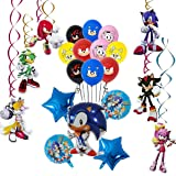 REYOK Sonic The Hedgehog Globos Decoración de Fiesta, remolinos Colgantes Suministros de decoración Fiesta temática Decoracio