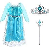 Vicloon Elsa Costume, Set da Principessa Elsa Corona Bacchetta Guanti Treccia, Ragazze Elsa Principessa delle Neve Abiti…