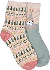 MARC Pack of 2 cotton ankle length designer socks for girls, women's