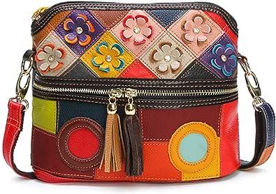 OB OURBAG Borsa a Tracolla a Fiori Multicolore in Vera Pelle Con Tracolla per Donna