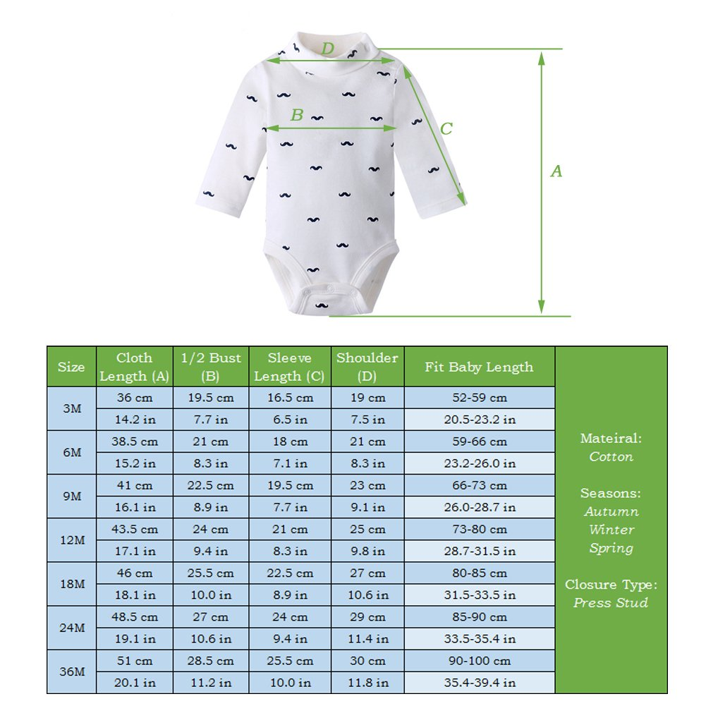 8a37a7432a9a ALLAIBB Baby Boy Girl Collared Bodysuit Long Sleeve Onesies Cotton ...