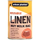 Urban Platter Reusable, Washable Fine Mesh Linen Nut Milk Bag (White, 12 x 11 Inch)