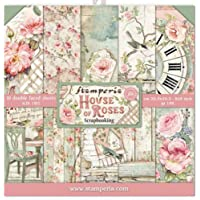 "Stamperia Mini Bloc Papier Scrap Double Face 10 Feuilles 20.3X20.3 (8""X8"") -House of Roses, Multi-Colored, 20,3x20,3 cm…"