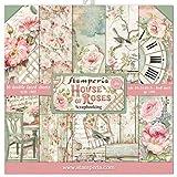 "Stamperia Mini bloc Papier Scrap double Face 10 feuilles 20.3X20.3 (8""X8"") - House of Roses, Multi-Colored, 20,3x20,3 cm, Set"