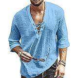 VANVENE Mens Linen Shirts Short Sleeved V-Neck Drawstring Summer Cotton Henley Shirt Casual Beach Yoga Top