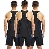 frueo 3 Piezas Camiseta Ttirantes Hombre Deport Camiseta Sin Mangas Tank Top Gym de Secado Rápido para Running Fitness Entren