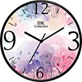 IIK COLLECTION Designer Home/Kitchen/Living Room/Bedroom/Office Plastic Analogue Round Wall Clock with Glass (28 x 28 x…