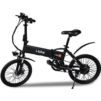 "i-Bike Bicicleta eléctrica plegable con pedales asistidos, Hombre, Negro, 20 """
