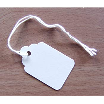 100 White Strung Tickets 46 x 30 mm Price Tags String Swing Labels 46mm x 30mm