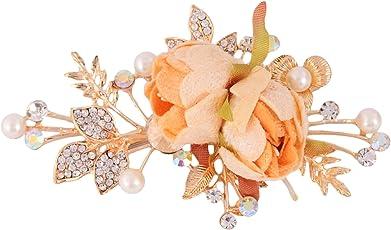 Sanjog Beauty Rhinestone Crystal Peach Flower Hair Clip/Hair Pin for Girls/Women Wedding Bridal