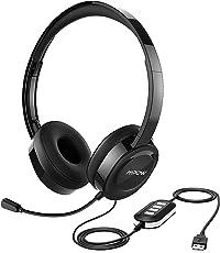 Mpow Computer Headset, USB Headset / 3.5mm Klinke Headset, Rauschunterdrückung von Dual-Mikrofonen PC Headset, Leicht Kopfhörer mit Mikrofon, Telefon Headset für alles wie PC, Skype Chat, Call Center, Online-Konferenz, Musik, Handys[Schwarz]