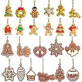 Lot de 23 décorations en pain d'épices à suspendre pour sapin de Noël, différentes formes, flocon de neige, bonhomme de neige