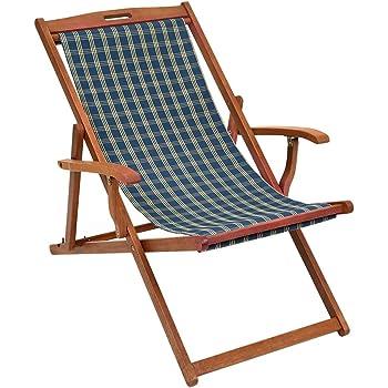 Gentil Trueshopping Hardwood Frame Folding Rimini Classic Deck Chair With Armrests    Patterned Fabric Slip